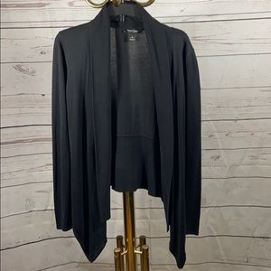 WHBM Waterfall Silk Black Long Sleeve Cardigan